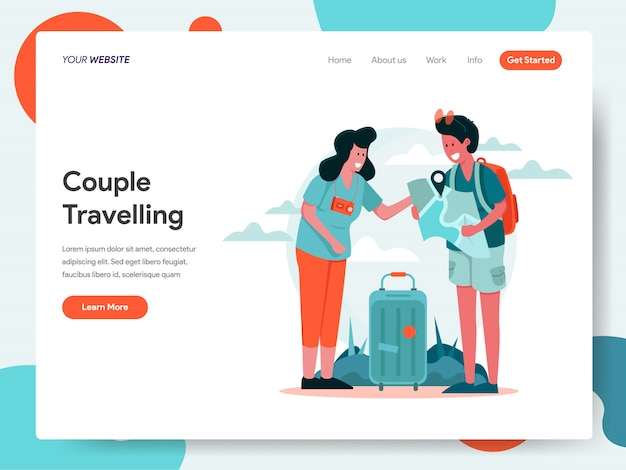 Travelling couple banner for landing page