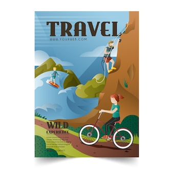 Travelling to different locations illustrated poster template