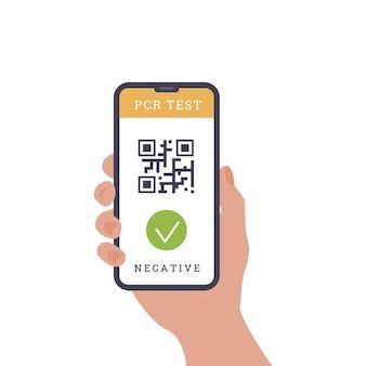 Путешествия во время covid. телефонное приложение с qr-кодом. пцр мазок из носа. сертификат соответствия. вектор