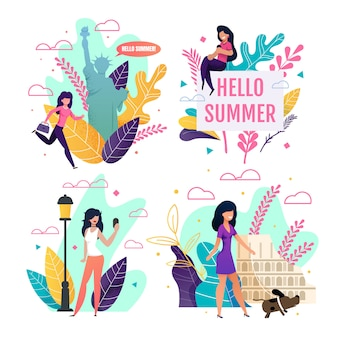 Travelling greeting cards set with cartoon female tourist