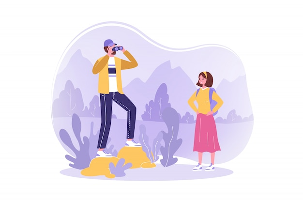Travelling, hiking, tourism, nature concept