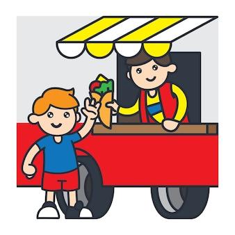 南アメリカの漫画のイラストレーションで旅行。食べ物のトラックからタコスを買う子供