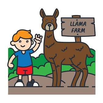 南アメリカの漫画のイラストレーションで旅行。ラマと写真を撮る