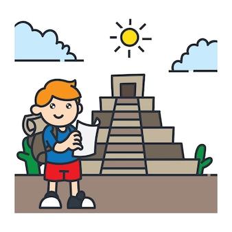 南アメリカの漫画のイラストレーションで旅行。チリ旅行