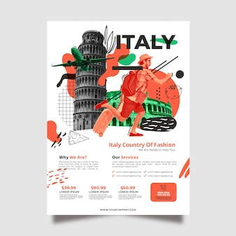 Travelling to italy stationery poster template