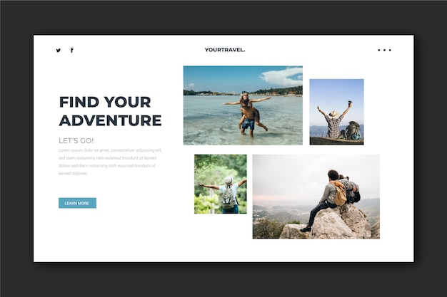 Travelling landing page template with photo