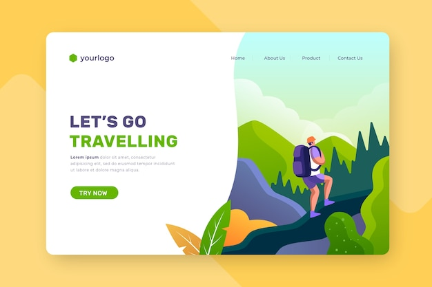 Travelling landing page with illustrated background