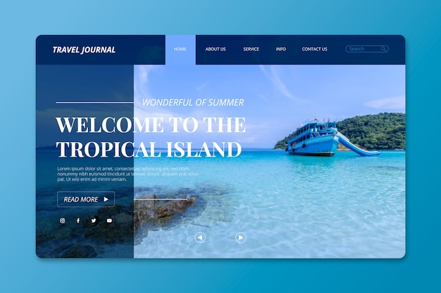 Travelling landing page with photo of island