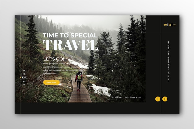 Travelling landing page with photo