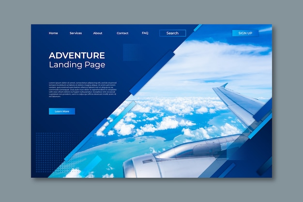 Travelling landing page with picture