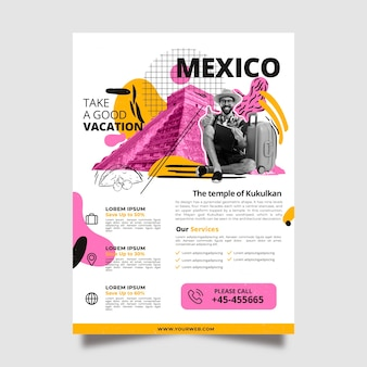 Travelling to mexico stationery poster template