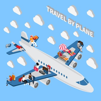 Travelling people isometric