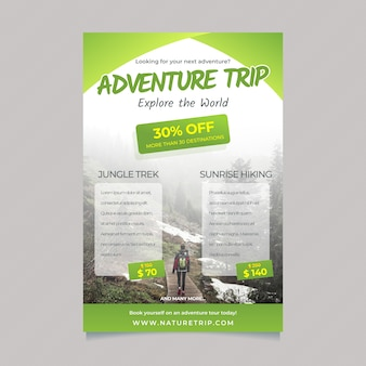 Travelling poster template with details and photo