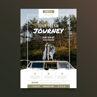 Travelling poster template with photo