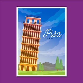 Travelling poster with pisa illustrated