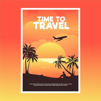 Путешествие плакат с плоскостью и пальмами
