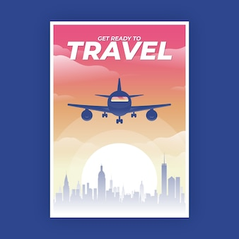 Travelling poster with plane at sunset