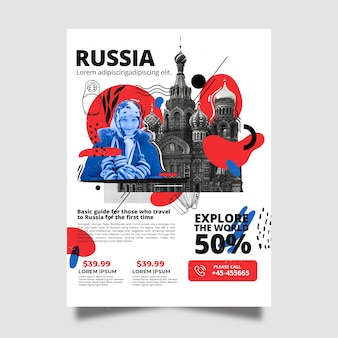 Travelling to russia stationery poster template