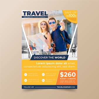 Travelling sales flyer template with photo
