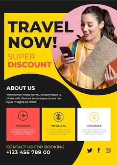 Travelling sales flyer template with picture