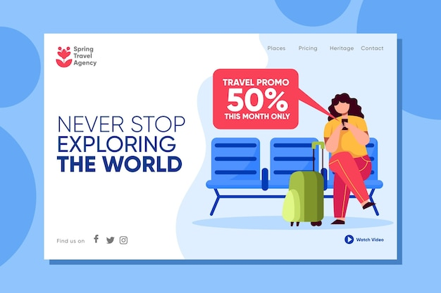 Travelling sales home page illustrated