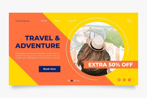 Travelling sales home page template with photo