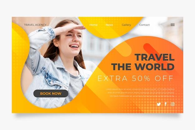 Modello di home page di vendita in viaggio