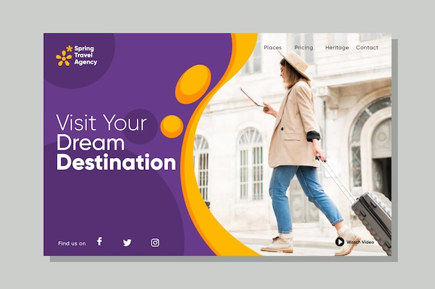 Travelling sales home page with photo