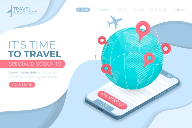 Travelling sales landing page illustrated