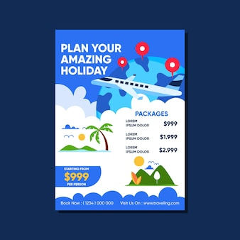 Travelling sales poster template with illustrations