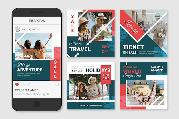 여행 판매 소셜 미디어 게시물