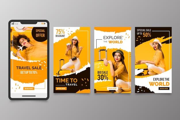 Travelling sales social media stories set