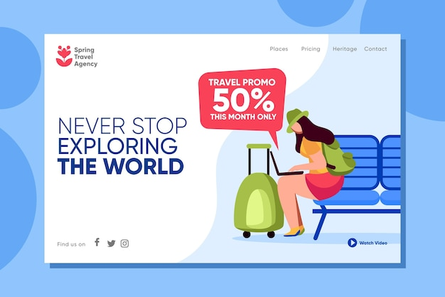 Travelling sales web page template illustrated