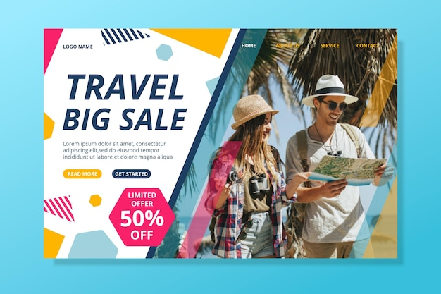 Modello di pagina web di vendita itinerante con foto