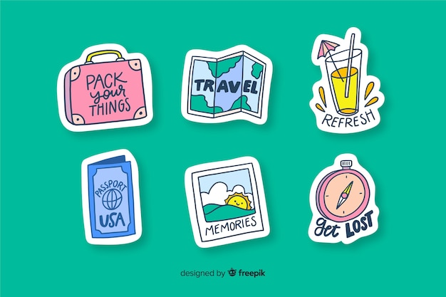 Travelling stickers to decorate photos