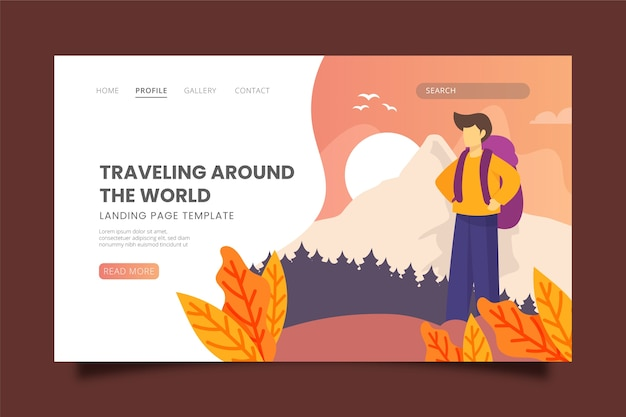 Travelling themed landing page