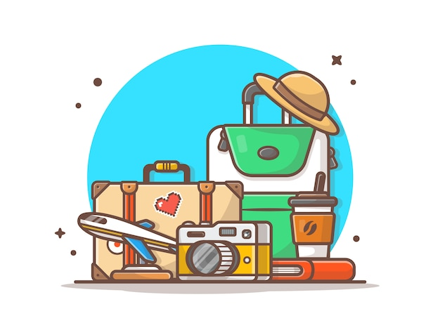 Travelling time vector icon illustration