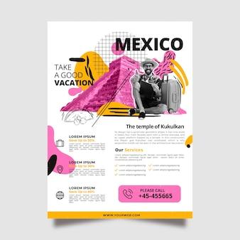 멕시코 편지지 포스터 템플릿 여행