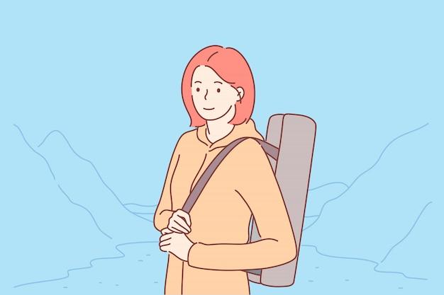 旅行、観光、自然、ハイキングのコンセプト。