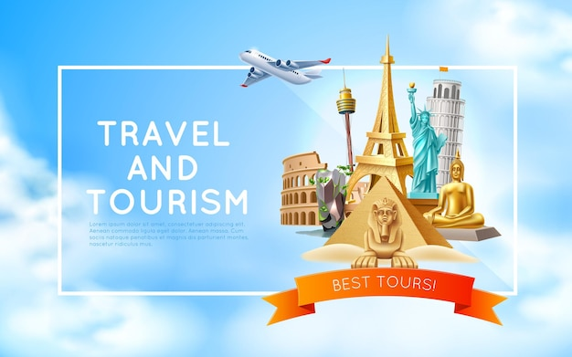 Travelling and tourism poster famous world landmarks on sky background pyramids sphinx