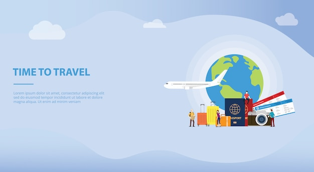 Travelling or travel holiday concept with tourist and plane for website template or landing homepage