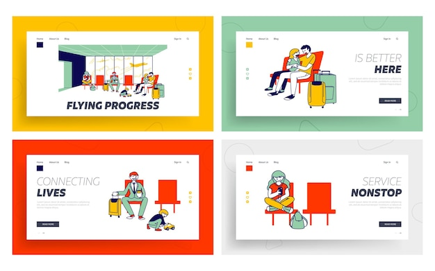 Travelling with kids, business trip, voyage landing page template set. characters in airport wait boarding