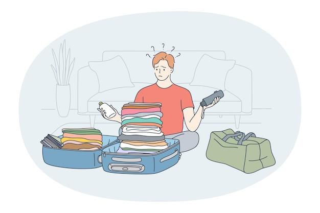 수하물, 휴가 및 여행 가방 컨셉으로 여행