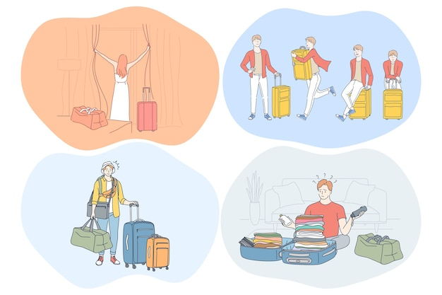 Travelling with luggage, vacations and journey with suitcases concept.