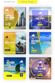 Travelon - social media banner for travel agency Premium Vector