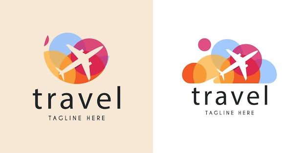 トラバー飛行機のロゴイラストテンプレートデザイン