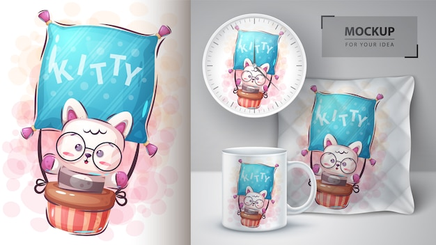 Trawel kitty poster and merchandising