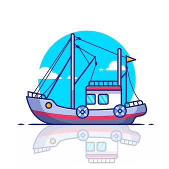 Trawler boat   icon illustration. water transportation icon concept   .