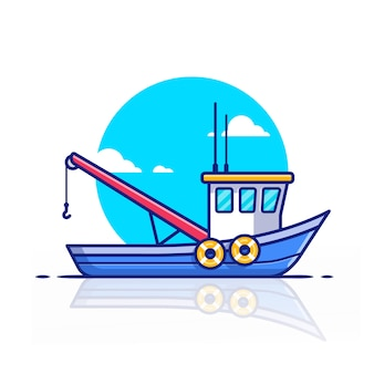 Trawler boat ship   icon illustration. water transportation icon concept   .