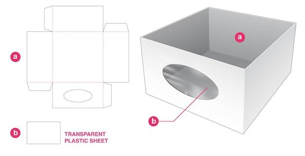 透明なプラスチックシートダイカットテンプレートとトレイと楕円形のウィンドウ